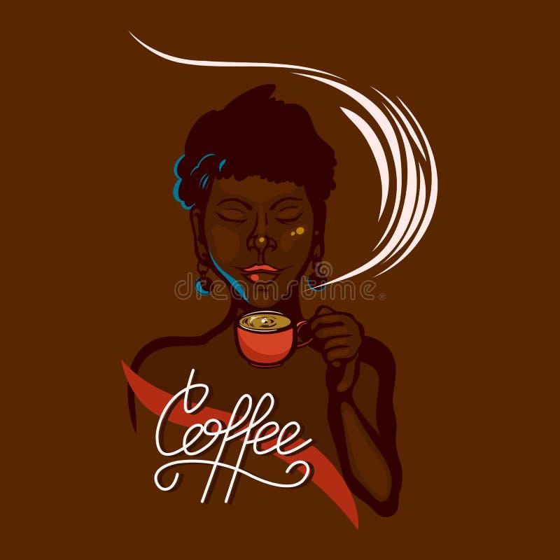 Африканская девушка держа чашку кофе и вдыхает свою ароматность закрытые глаза Литерность кофе завтрака ярлык иллюстрация штока