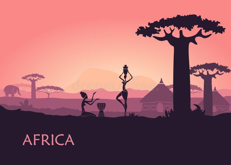 Африканская женщина на предпосылке захода солнца Кении Ландшафт Африки, баобабов и традиционных хат иллюстрация штока