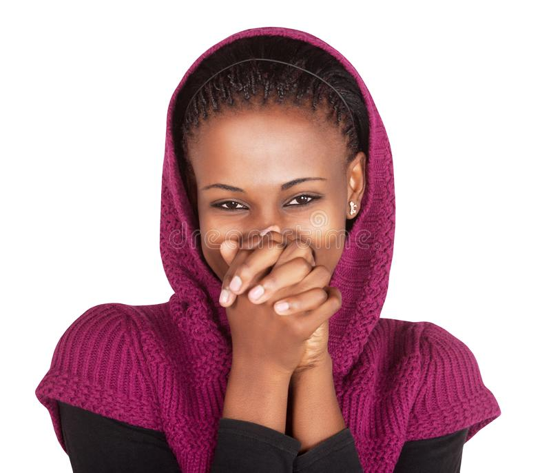 Африканская женщина скрывает улыбку стоковые изображения
