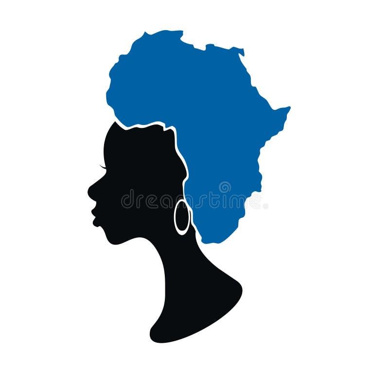 Африканская женщина с картой на ее illustartion вектора волос иллюстрация вектора