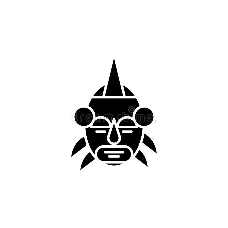 Африканская концепция значка черноты руководителя маски Символ вектора африканского руководителя маски плоский, знак, иллюстрация иллюстрация штока