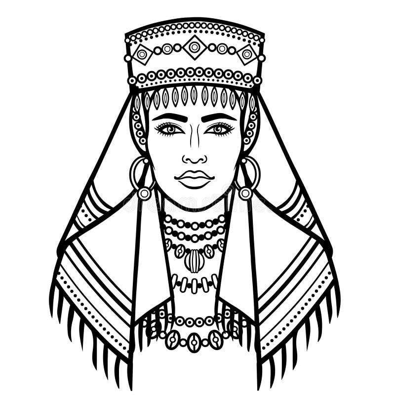 Африканская красота: портрет анимации красивого womanin шарф иллюстрация штока