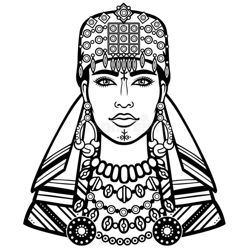 Африканская красота: портрет анимации красивого womanin шарф иллюстрация вектора