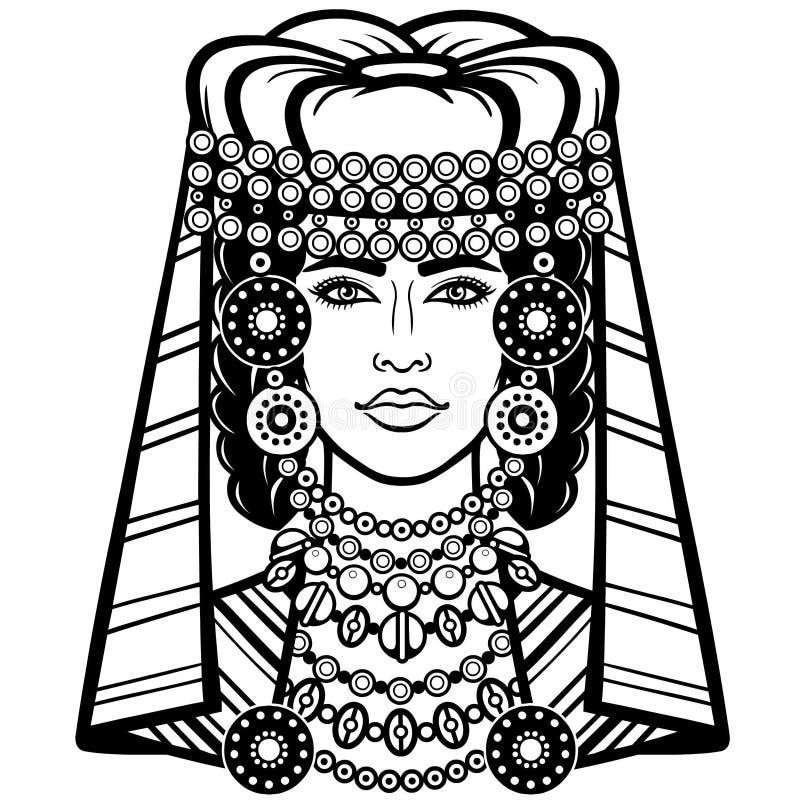 Африканская красота: портрет анимации красивой женщины в тюрбане иллюстрация штока