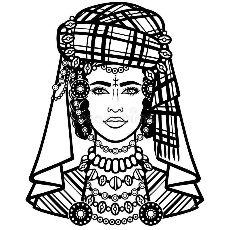 Африканская красота: портрет анимации красивой женщины в тюрбане иллюстрация вектора