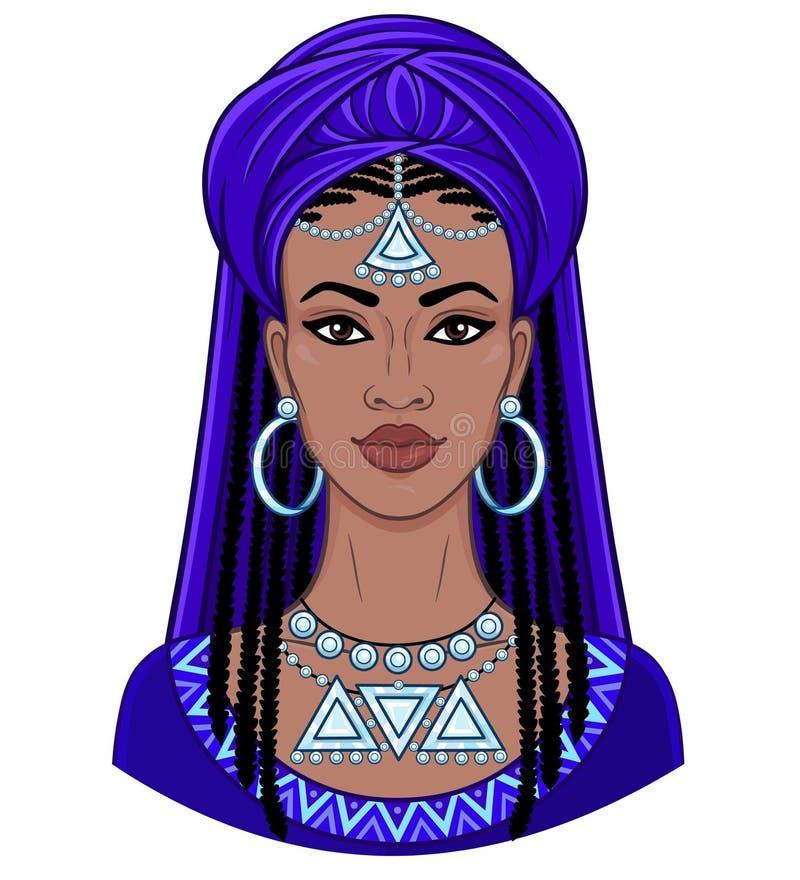 африканская красотка Портрет анимации молодой чернокожей женщины в тюрбане иллюстрация вектора