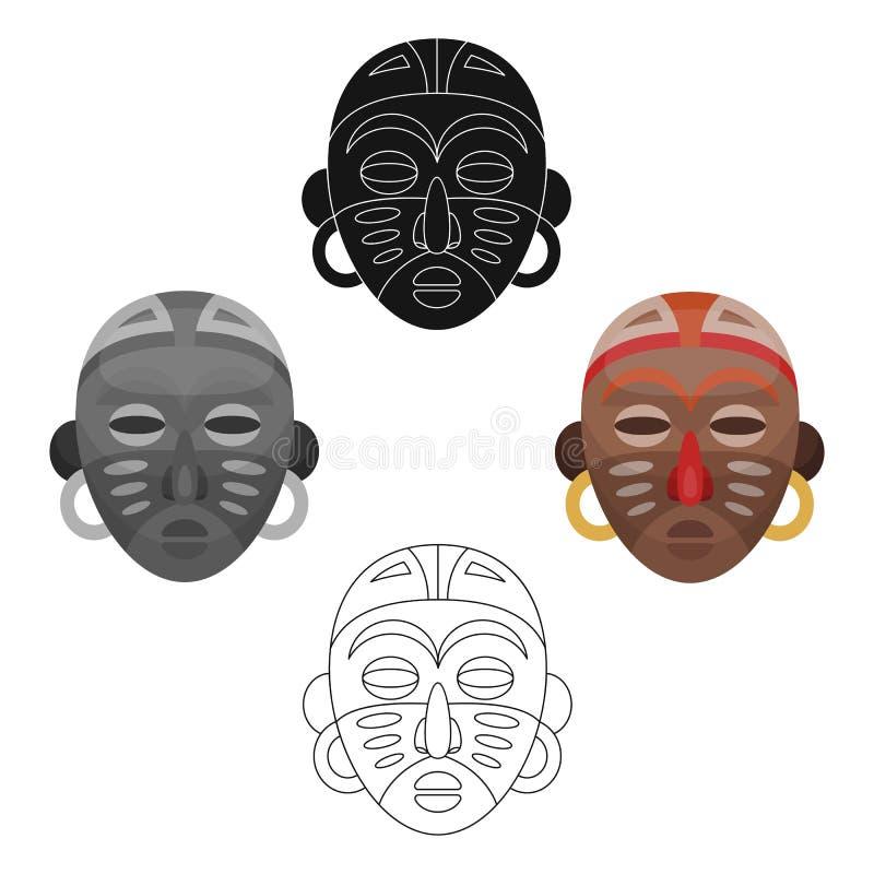 африканская маска соплеменная Значок африканского сафари одиночный в сети иллюстрации запаса символа вектора стиля шаржа иллюстрация штока