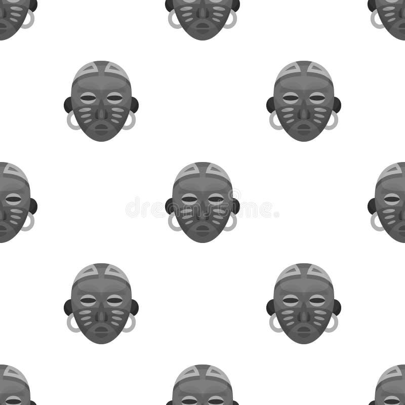 африканская маска соплеменная Значок африканского сафари одиночный в monochrome сети иллюстрации запаса символа вектора стиля иллюстрация штока