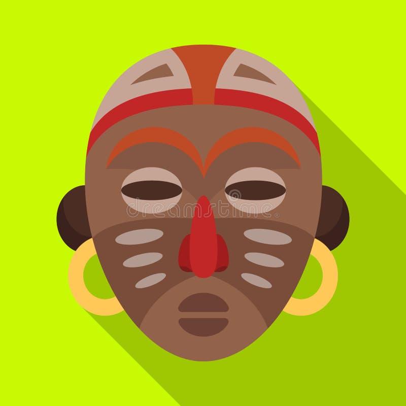 африканская маска соплеменная Значок африканского сафари одиночный в плоской сети иллюстрации запаса символа вектора стиля иллюстрация вектора