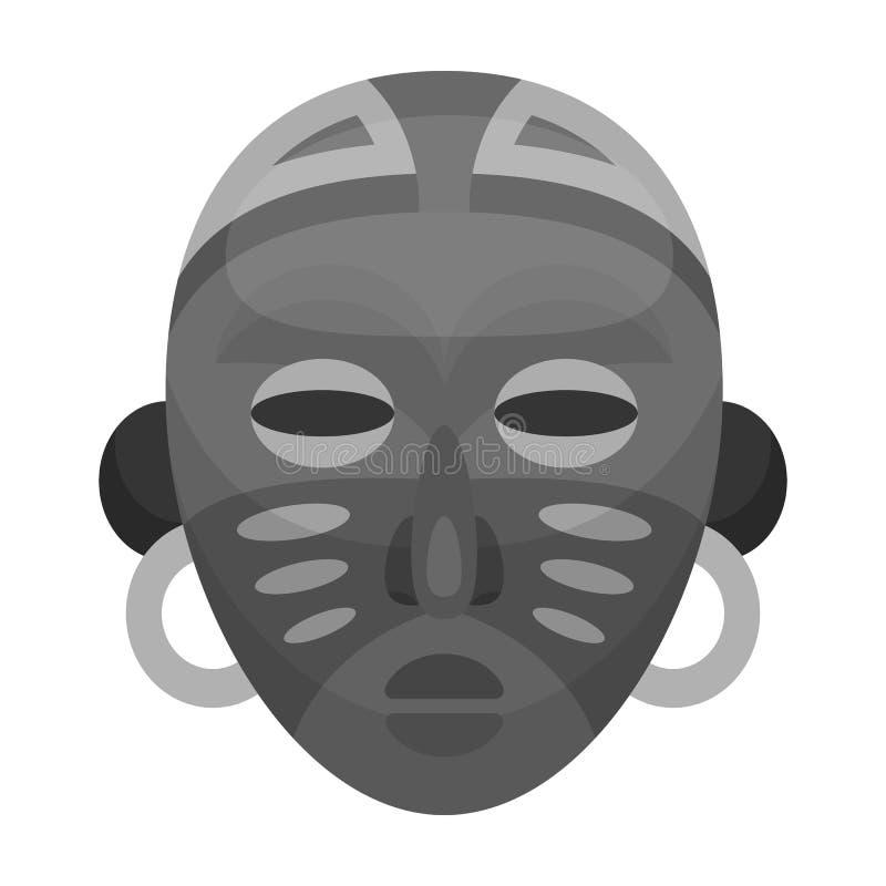 африканская маска соплеменная Значок африканского сафари одиночный в monochrome сети иллюстрации запаса символа вектора стиля бесплатная иллюстрация