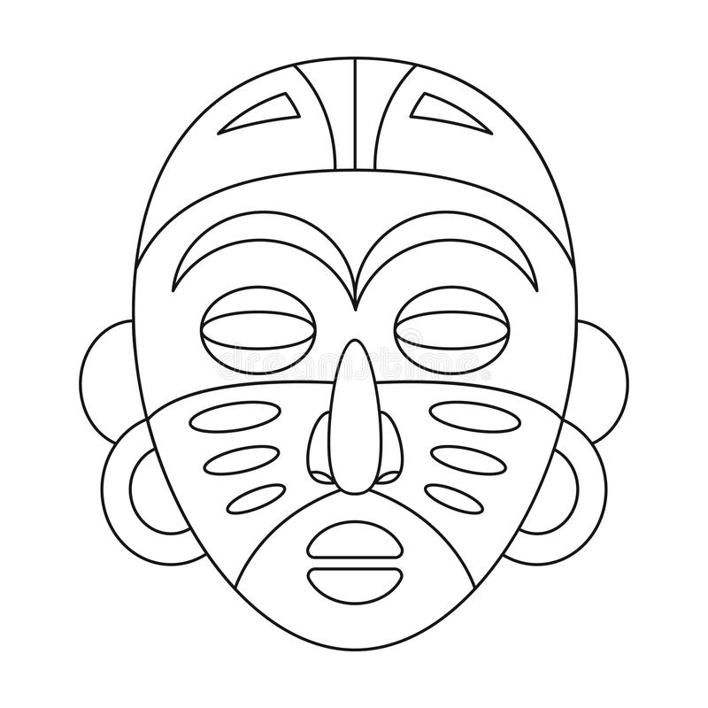африканская маска соплеменная Значок африканского сафари одиночный в сети иллюстрации запаса символа вектора стиля плана иллюстрация вектора