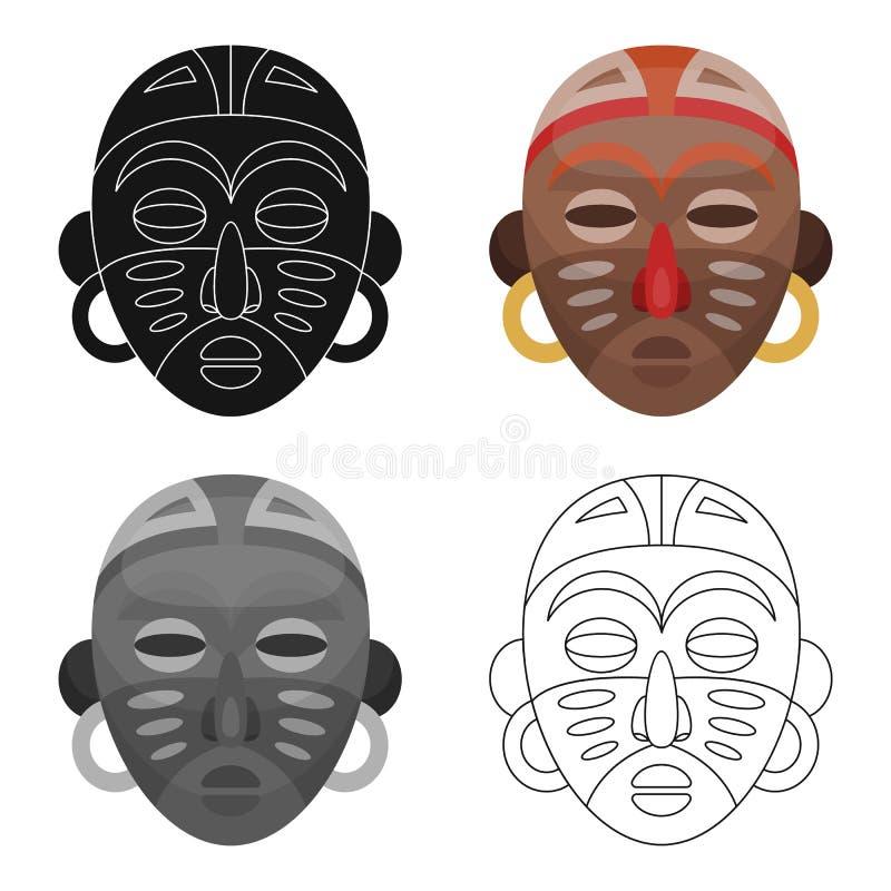 африканская маска соплеменная Значок африканского сафари одиночный в сети иллюстрации запаса символа вектора стиля шаржа бесплатная иллюстрация