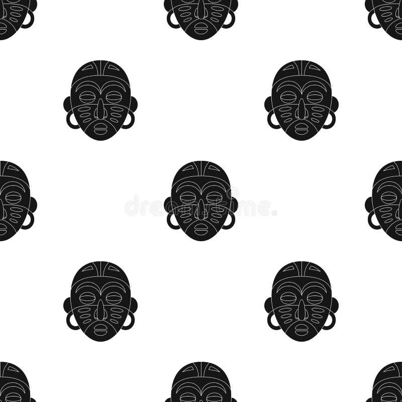 африканская маска соплеменная Значок африканского сафари одиночный в черной сети иллюстрации запаса символа вектора стиля бесплатная иллюстрация