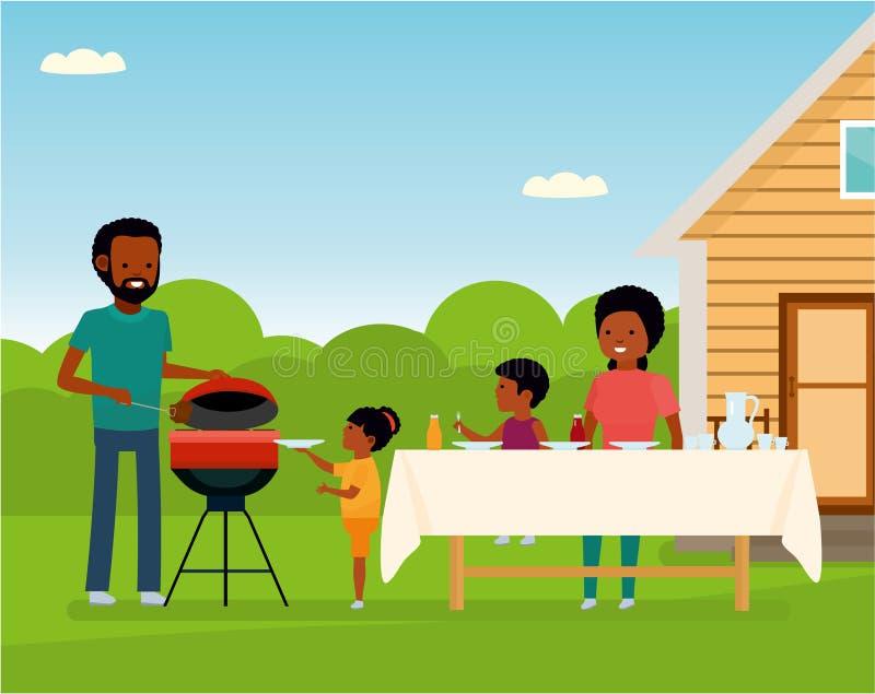 Африканская счастливая семья подготавливая гриль барбекю outdoors Отдых семьи бесплатная иллюстрация