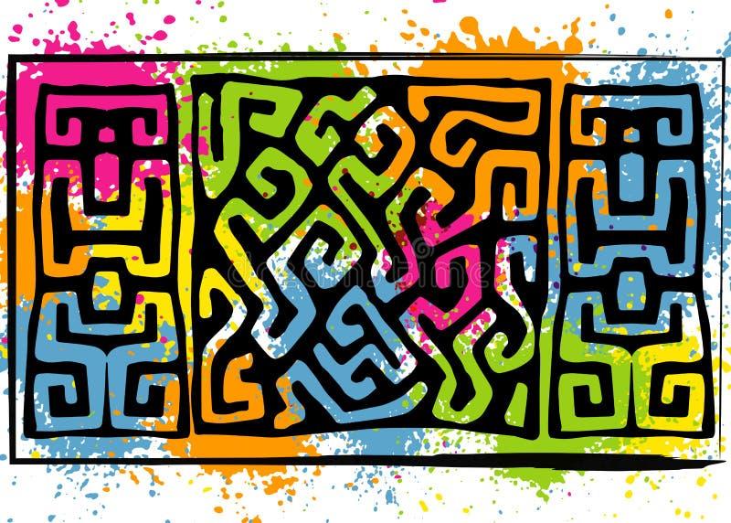 Африканская ткань печати, этнический handmade орнамент для вашего дизайна, племенные геометрические элементы мотивов картины самы иллюстрация вектора