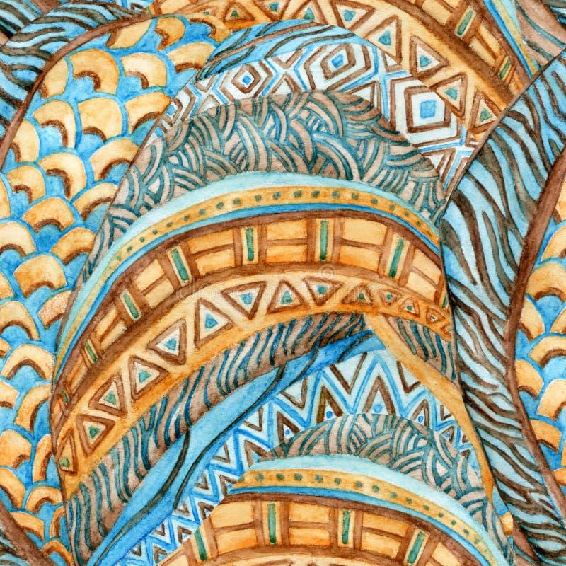 Африканская этническая безшовная картина акварели, стоковые изображения