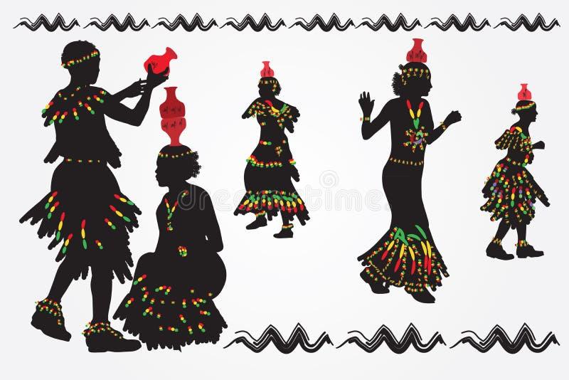 Африканские женщины и народный танец танца людей Человек кладет кувшина дальше иллюстрация штока