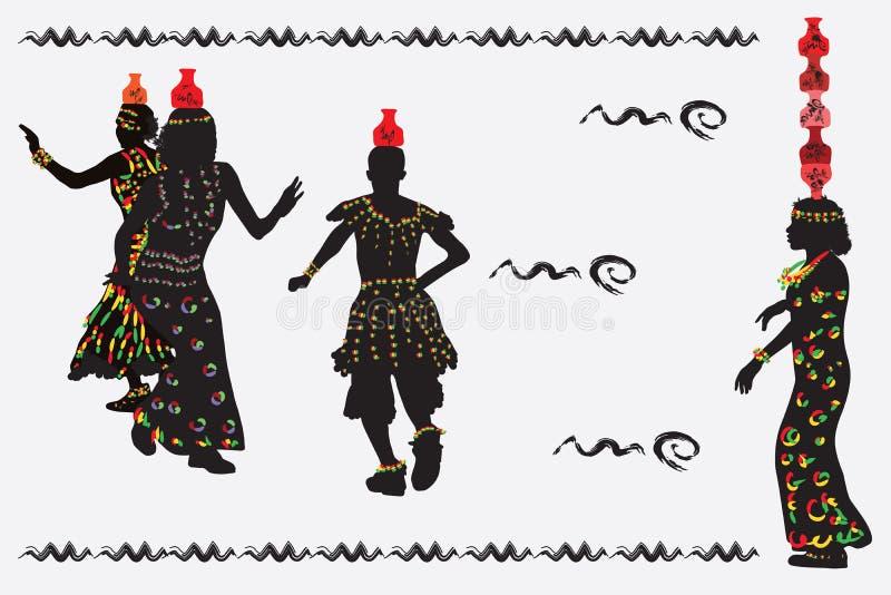 Африканские женщины и человек танцуя народный танец с кувшинами на th бесплатная иллюстрация