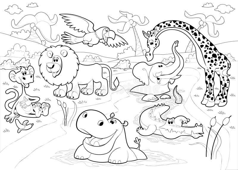 Африканские животные в джунглях в черно-белом. иллюстрация вектора