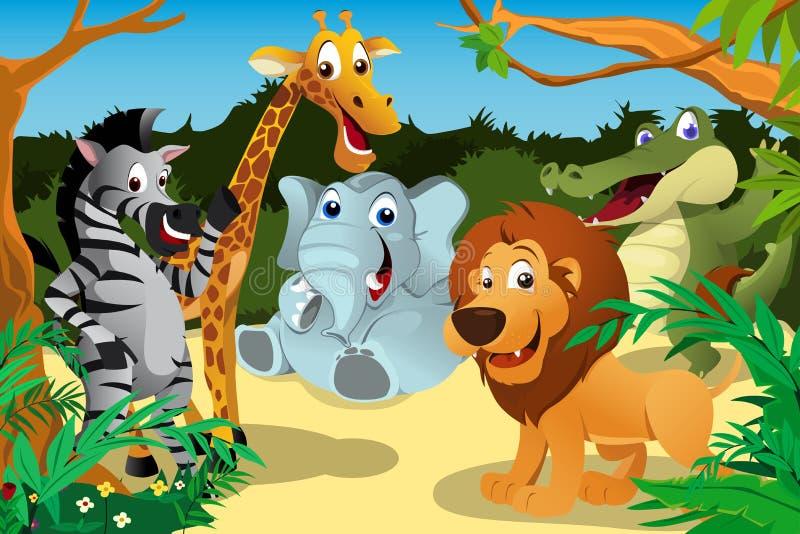 Африканские животные в джунглях иллюстрация штока