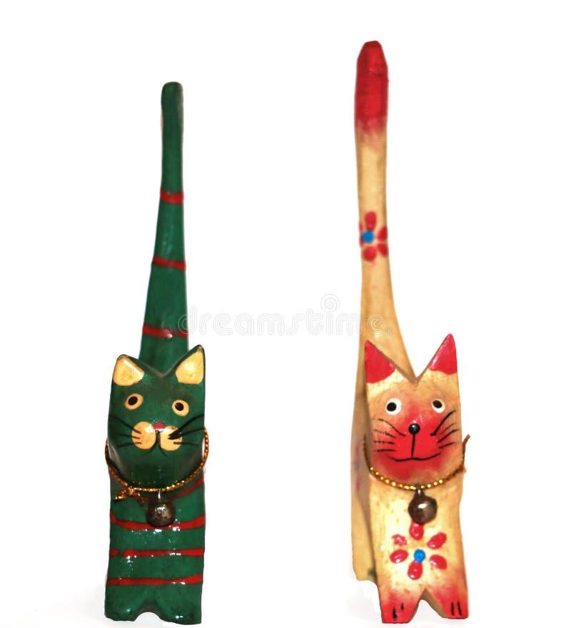 Африканские коты сделанные из древесины стоковое фото rf