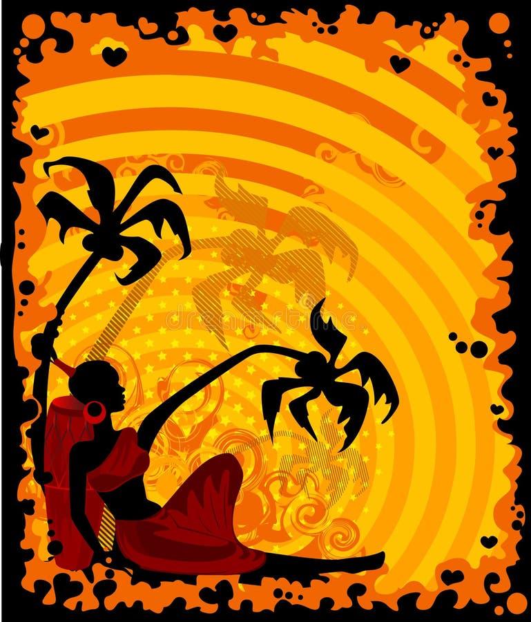 африканские ладони девушки тропические иллюстрация штока