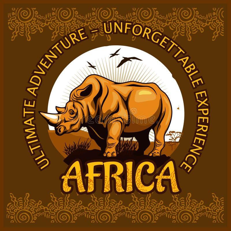 Африканские ландшафт и носорог - плакат вектора иллюстрация штока