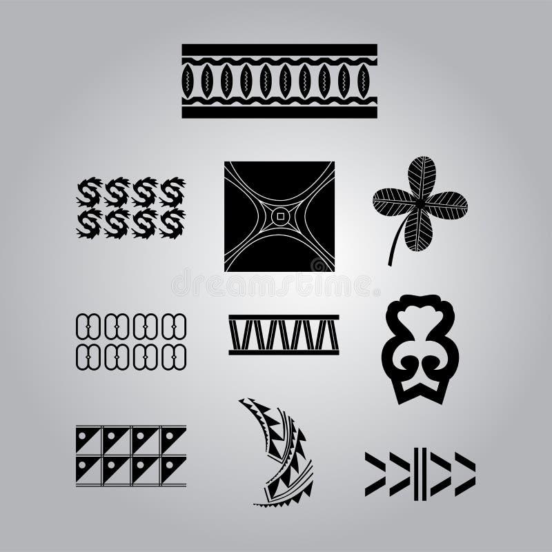 Африканские национальные установленные орнаменты иллюстрация штока