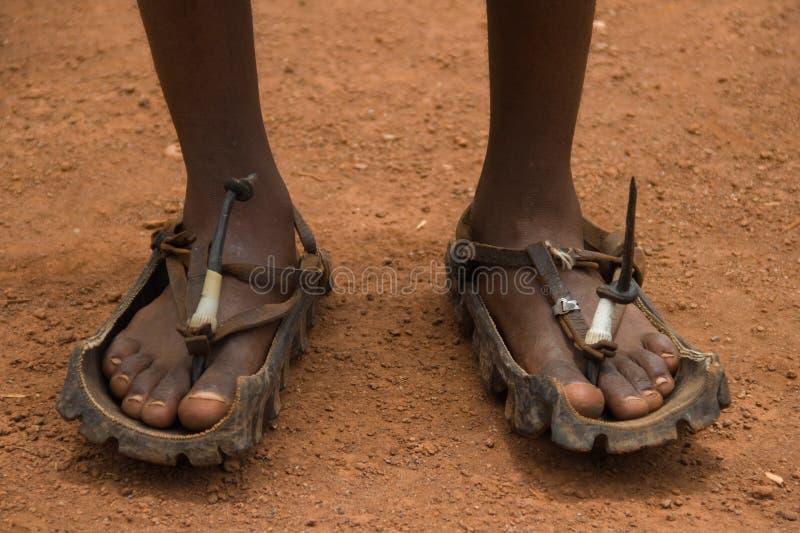 африканские неуничтожаемые сандалии устойчивые стоковое изображение rf