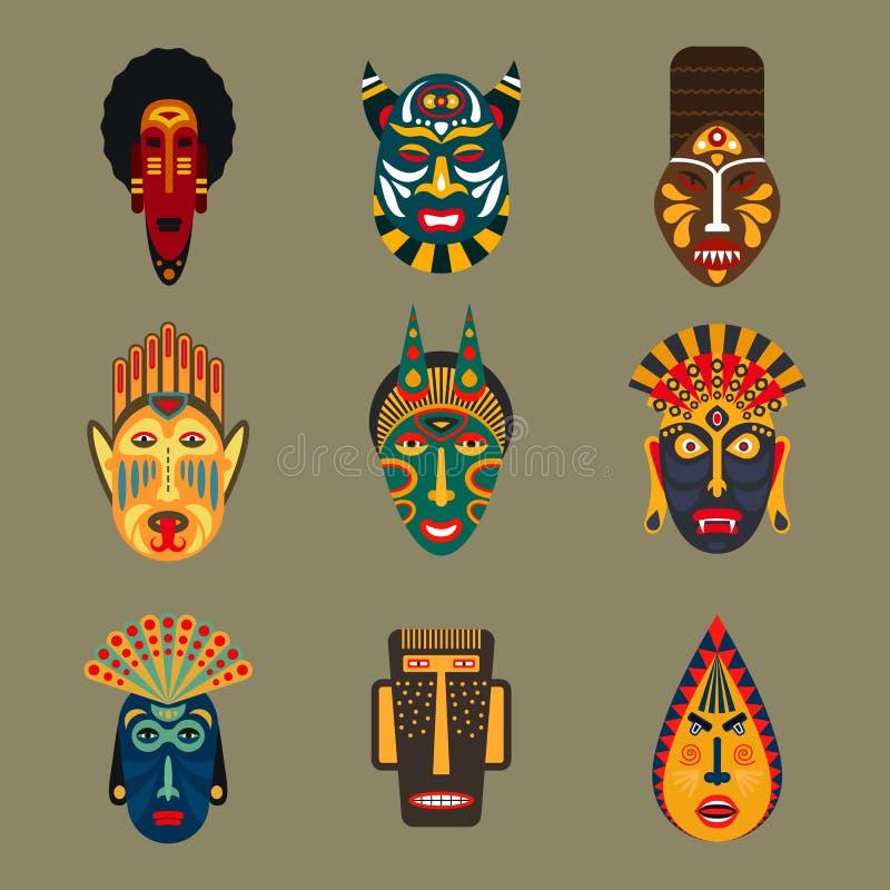 Африканские племенные установленные маски иллюстрация штока