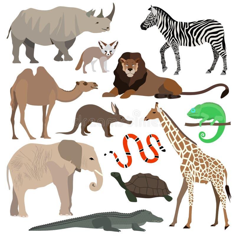 африканские установленные животные Слон, жираф, буйвол, гиппопотам, носорог, лев, гепард, антилопа, страус, гиена, лемур, горилла бесплатная иллюстрация