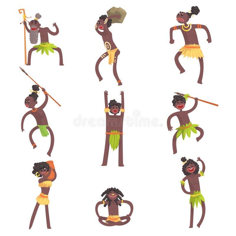 Африканские члены, ратники и гражданские лица племени в Loincloths лист установленных усмехаясь персонажей из мультфильма иллюстрация вектора