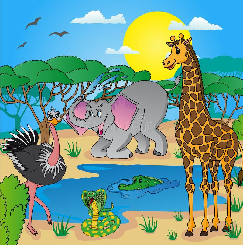 Африканский ландшафт с животными иллюстрация вектора