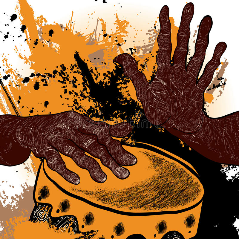 Африканский барабанщик иллюстрация вектора