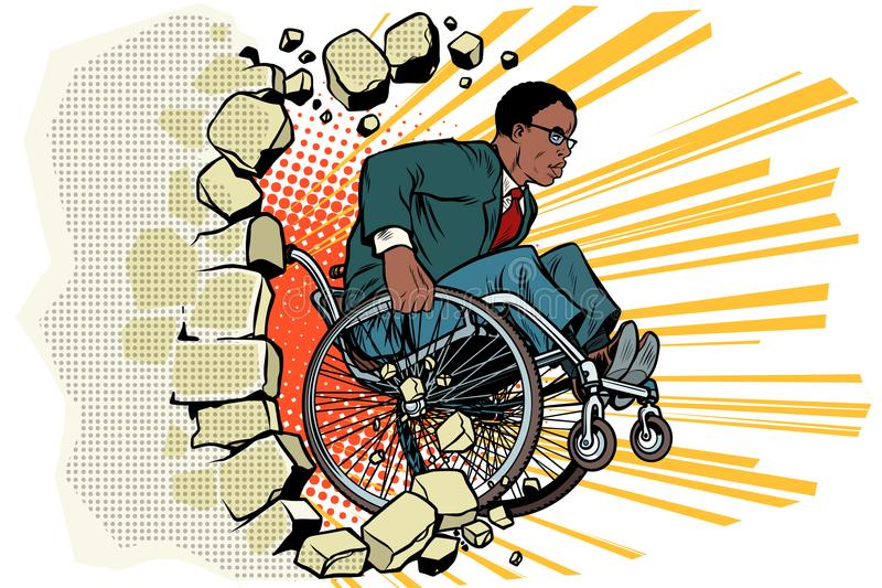 Африканский бизнесмен в кресло-коляске Инвалидность и здоровье иллюстрация штока