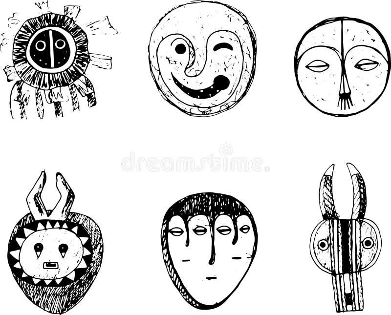 Африканский комплект маски Искусство doodle эскиза графическое Изолированные элементы c бесплатная иллюстрация