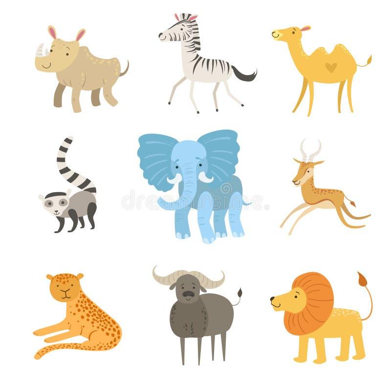 Африканский комплект иллюстрации животных иллюстрация штока