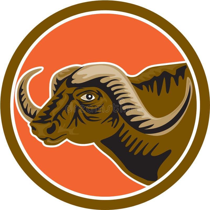 Африканский круг стороны головы буйвола ретро иллюстрация штока