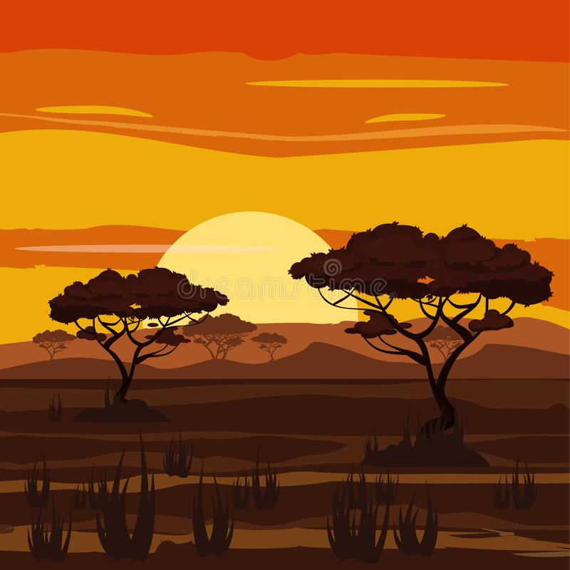 Африканский ландшафт, заход солнца, саванна, природа, деревья, глушь, стиль шаржа, иллюстрация вектора иллюстрация вектора