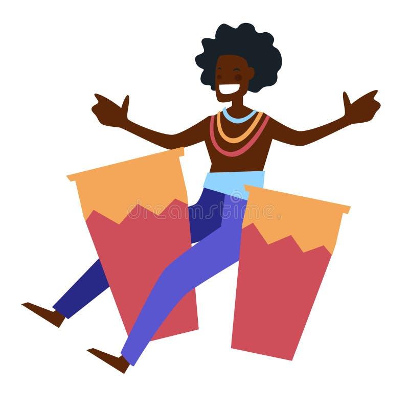 Африканский музыкант с изолированной барабанчиками иллюстрацией вектора характера бесплатная иллюстрация