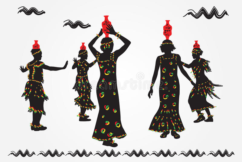 Африканский народный танец танца людей бесплатная иллюстрация
