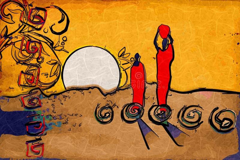 Африканский побудительный этнический ретро год сбора винограда иллюстрация штока