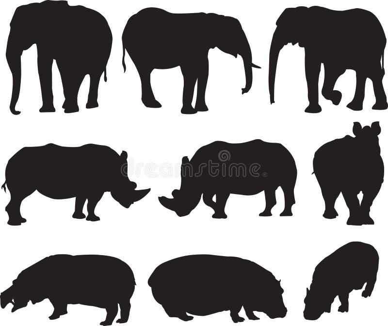 Африканский слон, белый носорог и гиппопотам silhouette контур иллюстрация штока