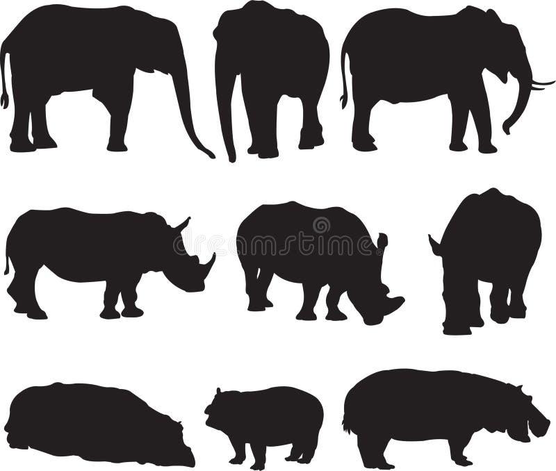 Африканский слон, белый носорог и гиппопотам silhouette контур иллюстрация вектора