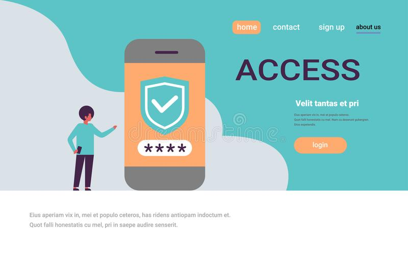Африканский человек открывает концепции доступа app безопасностью проверки пароля smartphone космос экземпляра передвижной горизо иллюстрация вектора