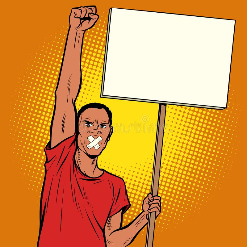 Африканским протесты gagged человеком иллюстрация вектора