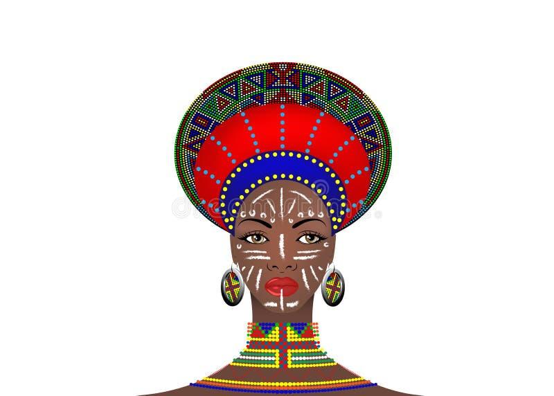 Африканское племя одевает женского Зулуса, портрета милой южно-африканской женщины Типичная одежда для пожененных женщин, маленьк иллюстрация штока