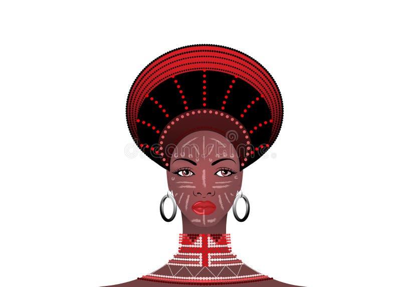 Африканское племя одевает женского Зулуса, портрета милой южно-африканской женщины Типичная одежда для пожененных женщин, маленьк бесплатная иллюстрация