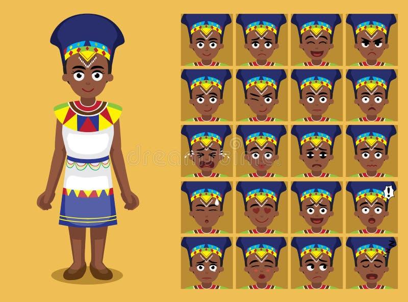 Африканское племя одевает женскую иллюстрацию вектора сторон смайлика шаржа Зулуса бесплатная иллюстрация