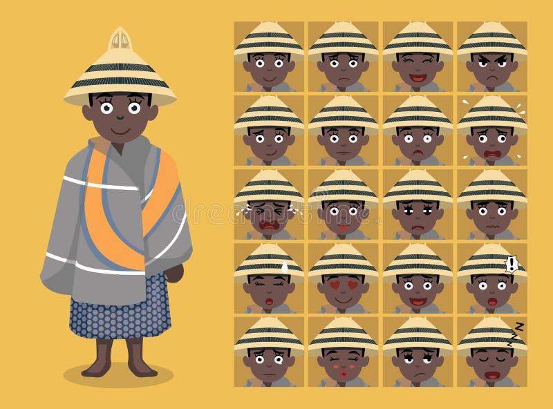 Африканское племя одевает женскую иллюстрацию вектора сторон смайлика шаржа Sotho бесплатная иллюстрация